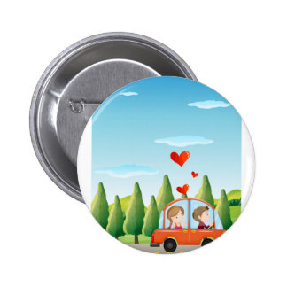 A couple riding on a car 2 inch round button