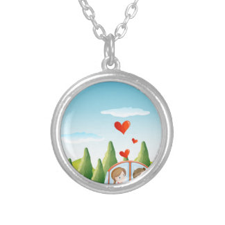 A couple riding on a car silver plated necklace