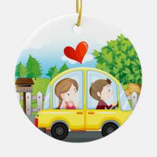 A couple riding on a yellow car round ceramic ornament