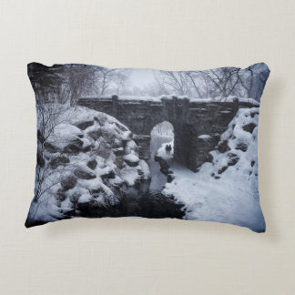 A Couple Walking Under a Snowy Glen Span Arch Accent Pillow