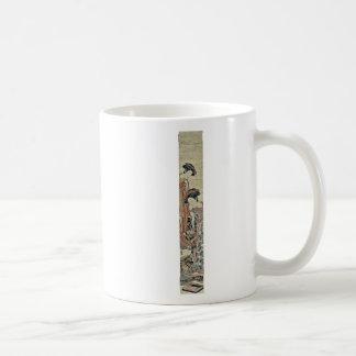 A courtesan and her apprentice by Isoda,Koryusai Classic White Coffee Mug