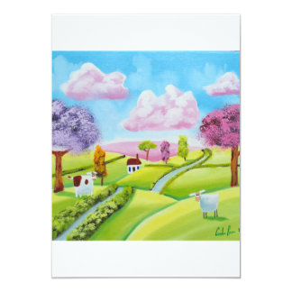A cow and a sheep card