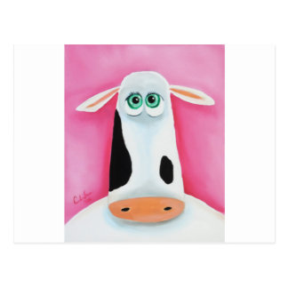 A cow face with green eyes postcard