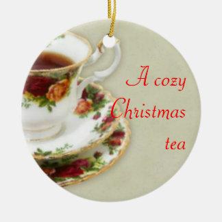 A Cozy Christmas Tea Round Ceramic Ornament