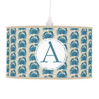 A Crab blue/ tan personalized Pendant Lamp