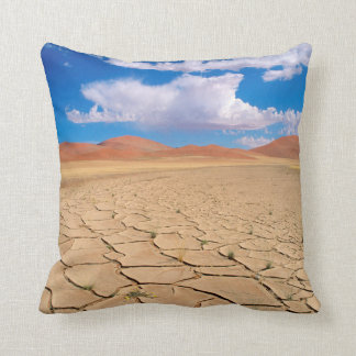 A cracked desert plain throw pillow