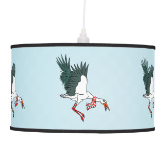 A Crane Wearing A Striped Winter Scarf Ceiling Lamps