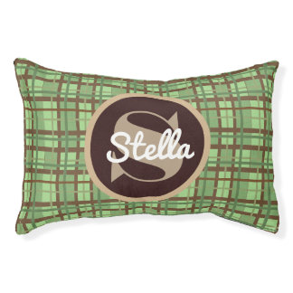 A Crisp Green & Brown Plaid w/Monogram & Name Pet Bed