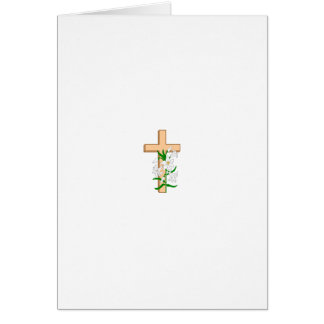 A Cross Standing Behind A White Flower Card