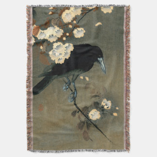 A Crow and Blossom by Ohara Koson Throw Blanket