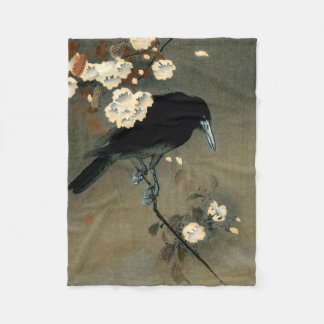 A Crow and Blossom by Ohara Koson Vintage Fleece Blanket
