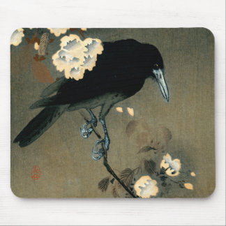A Crow and Blossom by Ohara Koson Vintage Mouse Pad