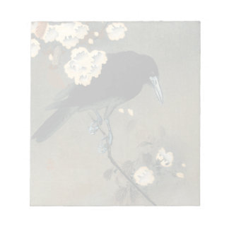 A Crow and Blossom by Ohara Koson Vintage Notepads