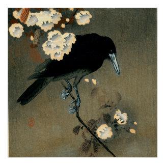 A Crow and Blossom by Ohara Koson Vintage Poster