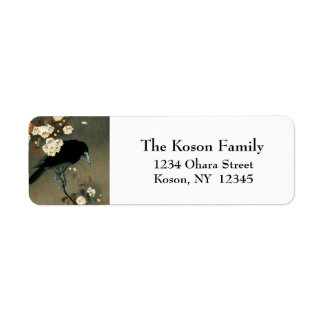 A Crow and Blossom by Ohara Koson Vintage Return Address Label