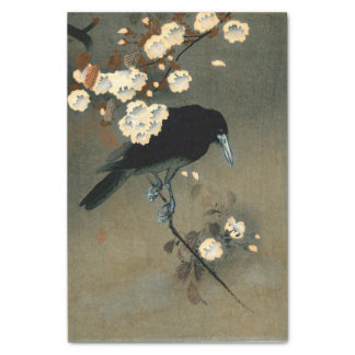 A Crow and Blossom by Ohara Koson Vintage Tissue Paper
