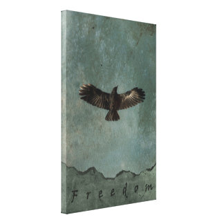 A Crow in Flight on Green & Grey Grundy Background Canvas Print