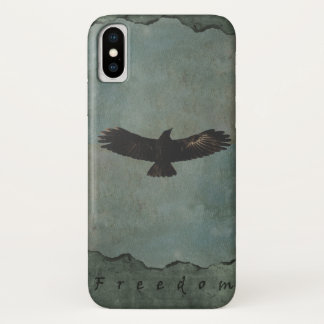 A Crow in Flight on Green & Grey Grundy Background iPhone X Case