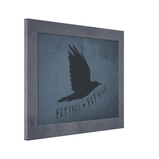 A Crow in Flight on Grungy Blue & Gray Background Canvas Print