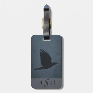 A Crow in Flight on Grungy Blue & Gray Background Luggage Tag