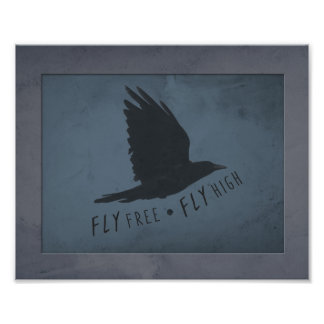 A Crow in Flight on Grungy Blue & Gray Background Photo Print