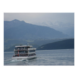 A cruise ship and beautiful scenery print