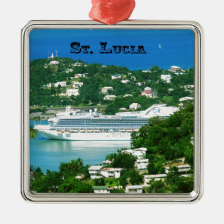 A Cruise Ship docked at St. Lucia Metal Ornament