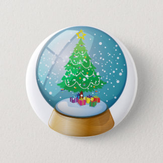 A crystal ball with a Christmas tree 2 Inch Round Button