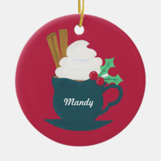 A Cup of Let It Snow Ceramic Ornament