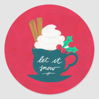 A Cup of Let It Snow Classic Round Sticker