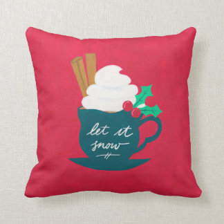 A Cup of Let It Snow Throw Pillow
