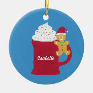 A Cup of Merry Christmas Round Ceramic Ornament