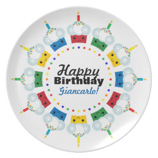A Cupcake Rainbow HAPPY BIRTHDAY Plate 2