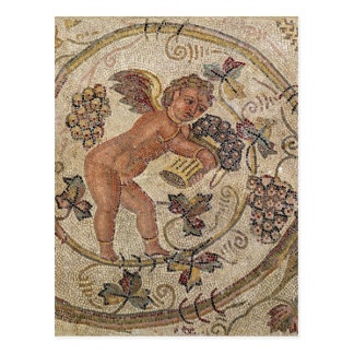 A cupid picking grapes, fragment of pavement postcard