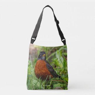 A Curious and Hopeful American Robin Crossbody Bag