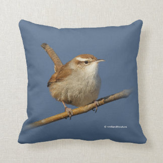 A Curious Bewick's Wren in the Tree Throw Pillow