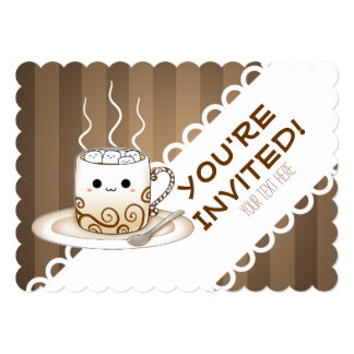 A cute anime style kawaii warm cup of cocoa card