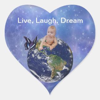 A cute baby s world dream heart sticker