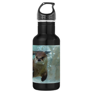 A cute Brown otter swimming in a clear blue pool 532 Ml Water Bottle