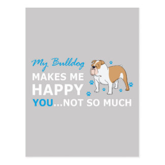 A Cute Bulldog Cartoon With nice Happy Quote Postcard