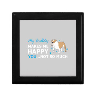 A Cute Bulldog Cartoon With nice Happy Quote Trinket Boxes