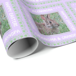 A Cute Bunny Rabbit In Wildflowers Custom Easter Wrapping Paper