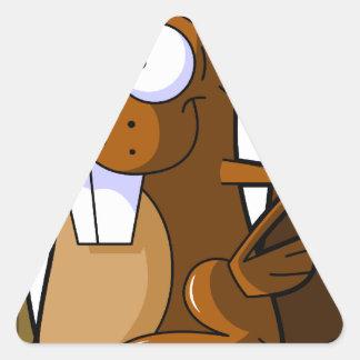A Cute Cartoon Beaver Character Holding a Log Triangle Sticker