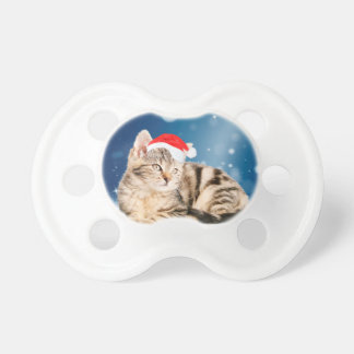 A Cute Cat wearing red Santa hat Christmas Snow Baby Pacifier