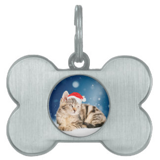 A Cute Cat wearing red Santa hat Christmas Snow Pet Name Tags