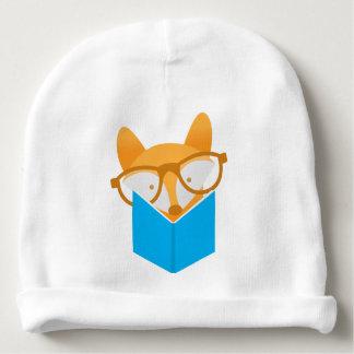 a cute fox reading baby beanie