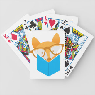 a cute fox reading bicycle playing cards