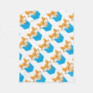 a cute fox reading fleece blanket