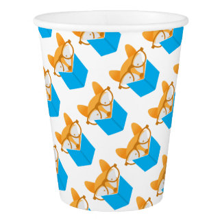 a cute fox reading paper cup