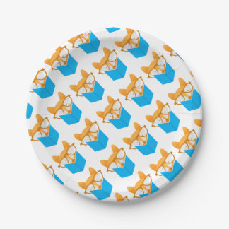 a cute fox reading paper plate
